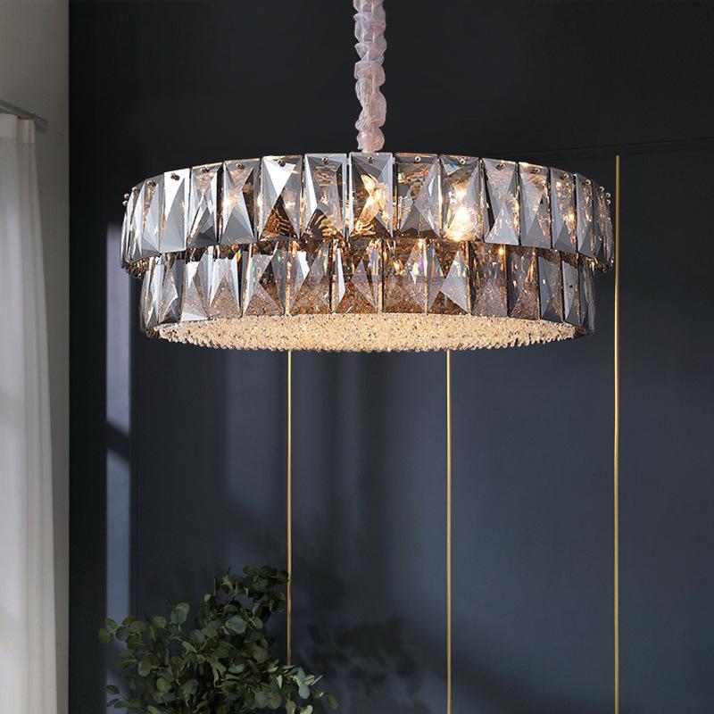 后现代水晶吊灯简约黑色圆形客厅卧室餐厅别墅网红轻奢灯具
