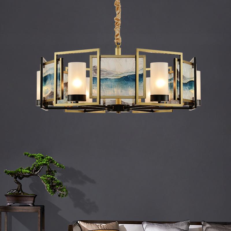 珐琅彩 现代新中式客厅吊灯创意轻奢别墅卧室餐厅全铜灯具 风
