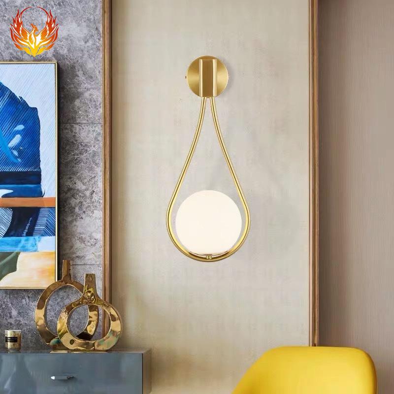 后现代全铜壁灯 简约卧室床头灯创意客厅书房轻奢装饰led背景墙灯