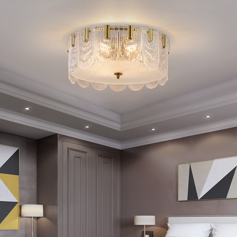 客厅圆形吸顶灯 简约现代卧室餐厅全铜灯创意欧式酒店轻奢led灯具