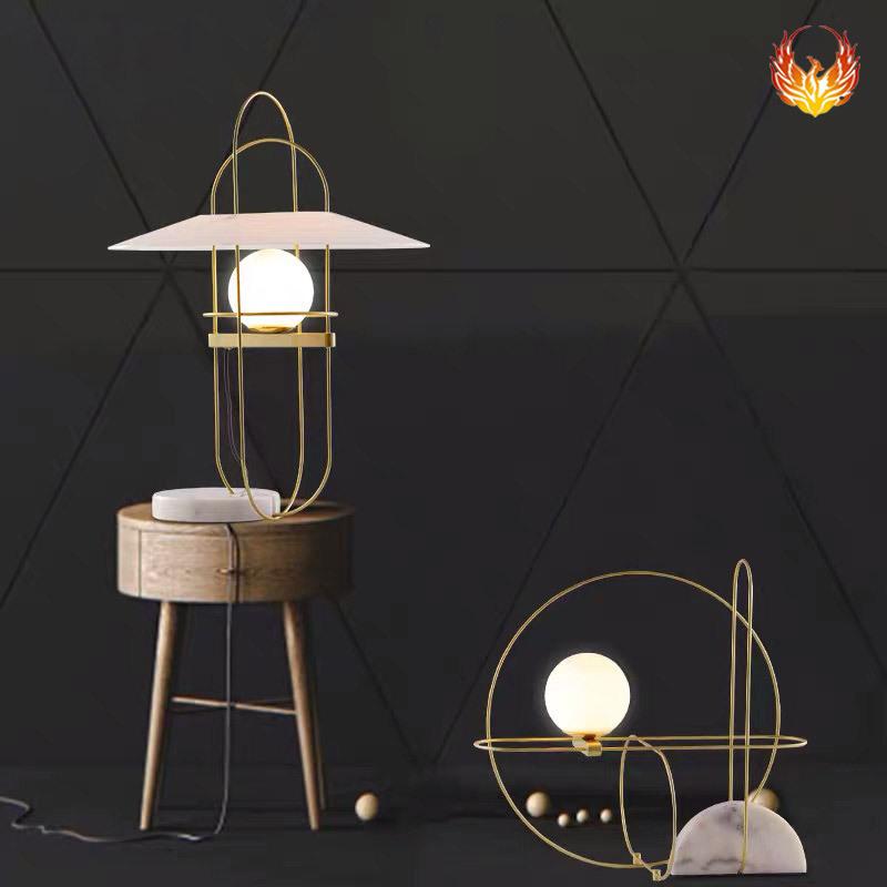 创意个性铁线条书房led灯轻奢大理石装饰灯 北欧简约卧室床头台灯