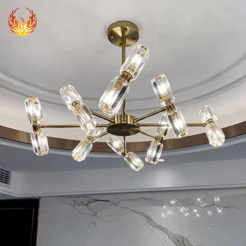 轻奢全铜分子灯 简约现代创意客厅卧室LED装饰灯北欧水晶餐厅吊灯