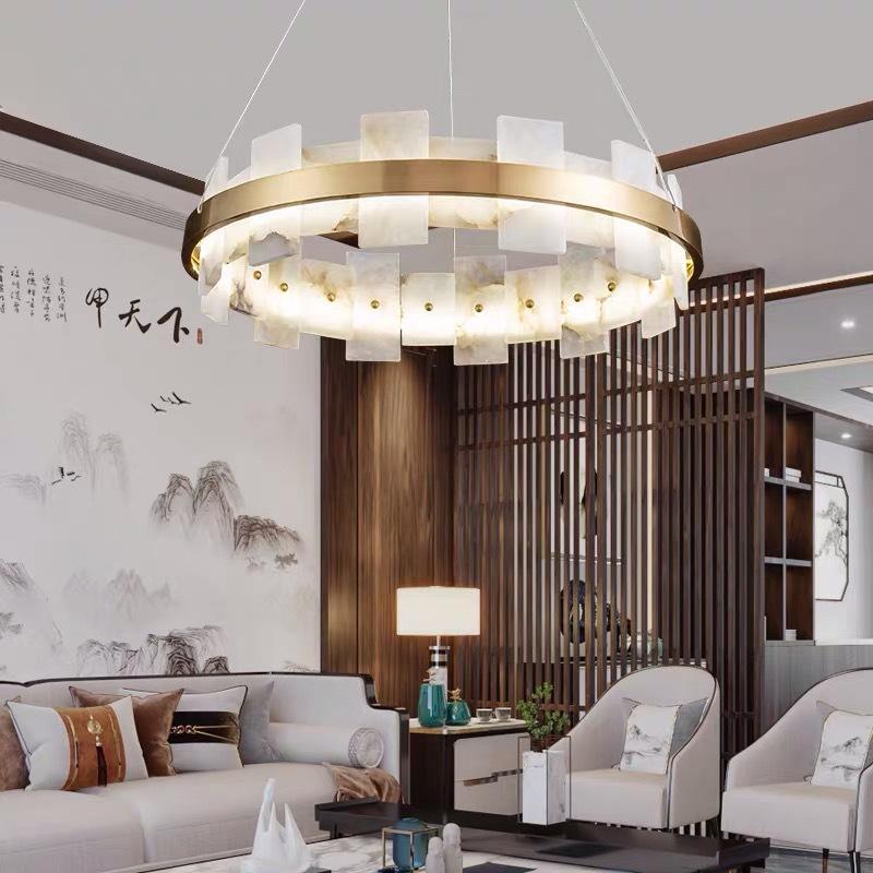新中式云石led灯酒店个性圆形设计师客厅卧室灯 现代全铜餐厅吊灯