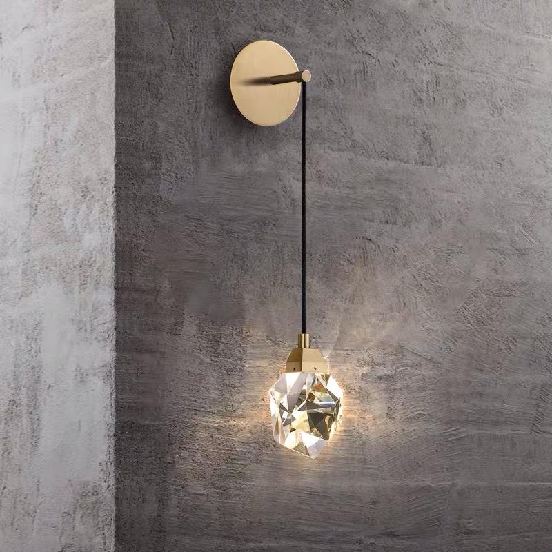 全铜led灯具 轻奢卧室床头水晶灯简约现代客厅背景墙创意过道壁灯