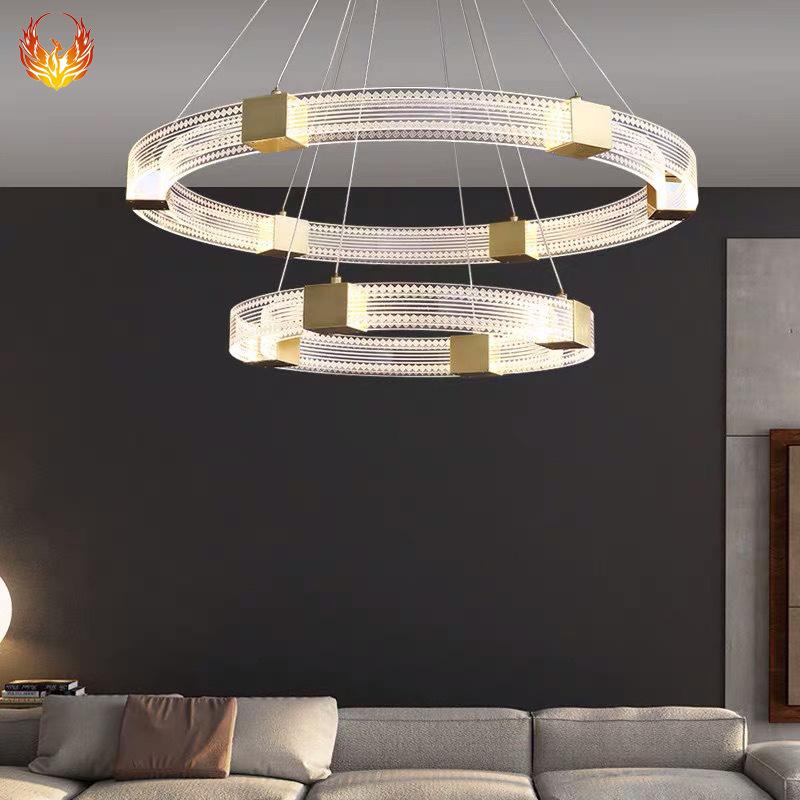 后现代铁艺客厅灯具简约卧室餐厅灯个性酒店展厅圆环轻奢工程吊灯