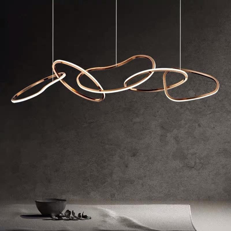后现代环形餐厅灯 酒店客厅轻奢灯具创意个性大堂吧台工程led吊灯