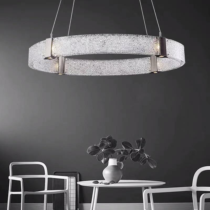 后现代客厅轻奢灯具 简约创意卧室LED餐厅灯个性圆环装饰玻璃吊灯