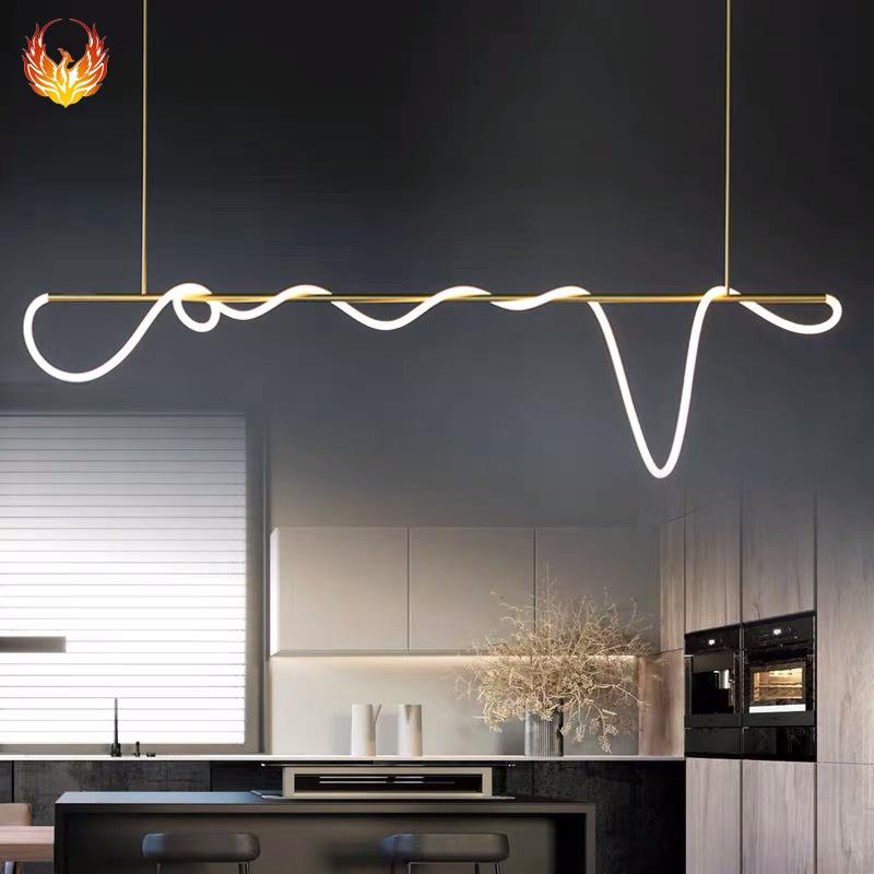 现代简约餐厅线条灯 北欧LED客厅吧台卧室艺术灯具设计师创意吊灯
