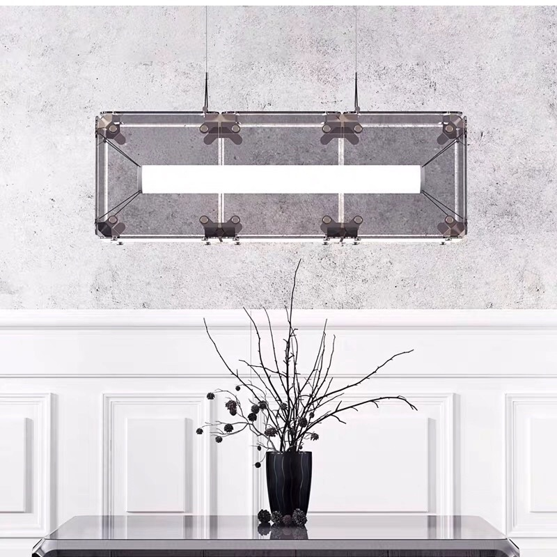 北欧客厅轻奢吊灯 现代个性玻璃餐厅灯简约卧室酒店LED魔方装饰灯