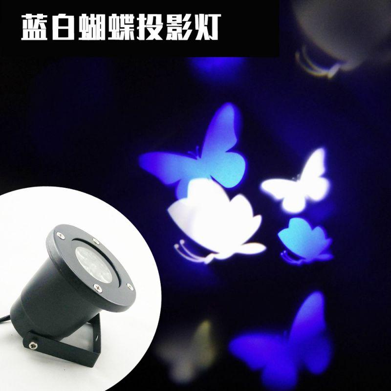 LED蝴蝶投影灯 户外防水草坪庭院雪花蓝白厂家批发